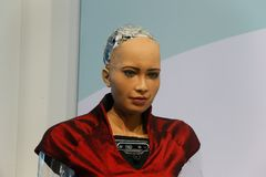 Robot de Sophia AI au Mobile World Congress 2019 photos stock