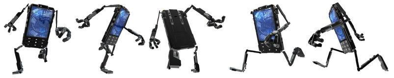 Robot de téléphone, fonctionnant Photo stock
