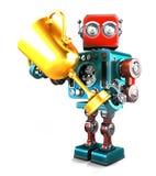 Robot de vintage tenant un trophée D'isolement Contient le chemin de coupure illustration de vecteur