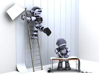Robot decorating with wallpaper Royalty Free Stock Photography