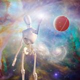 Robot and deep space stock illustration