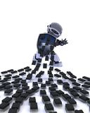 Robot defending against virus attack. 3D Render of a Robot defending against virus attack Stock Photo