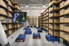 Robot del almacén del control del Cyborg ilustración del vector