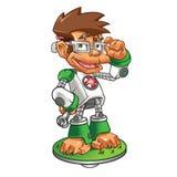 Robot del empollón del mono de la historieta Imágenes de archivo libres de regalías