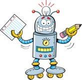 Robot del fumetto che tiene un documento e una matita Fotografie Stock Libere da Diritti