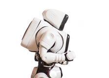 Robot del hombre mecánico aislado en el fondo blanco Fotografía de archivo libre de regalías