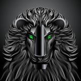Robot del metallo del cyborg di tecnologia del nero del leone degli animali Fotografia Stock