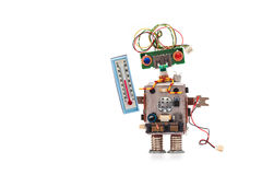 Robot del previsionista de tiempo con el termómetro que exhibe el nivel de la comodidad termal de la temperatura ambiente Concept fotos de archivo libres de regalías