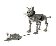Robot del topo e del gatto Fotografie Stock Libere da Diritti