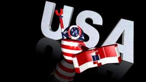 Robot del video della bandiera americana 3D stock footage
