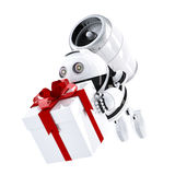 Robot delivering gift box. Express delivery concept. Isolated over white background Royalty Free Stock Image