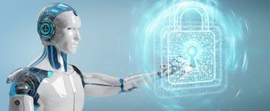 Robot dell'uomo bianco che assicura la rappresentazione di dati digitali 3D Fotografia Stock Libera da Diritti