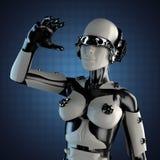 Robot della donna di acciaio e di plastica bianca Fotografie Stock Libere da Diritti