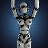 Robot della donna di acciaio e di plastica bianca Immagini Stock