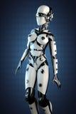 Robot della donna di acciaio e di plastica bianca Fotografia Stock Libera da Diritti
