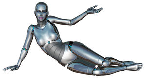 Robot della donna il VOSTRO PRODOTTO QUI isolato Fotografia Stock