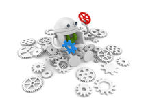 Robot with details of its mechanism. For your website projects. 3d illustration Stock Images