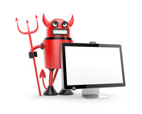 Robot Devil with monitor Royalty Free Stock Photography