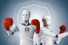 Robot di Android che porta i guantoni da pugile rossi fotografia stock