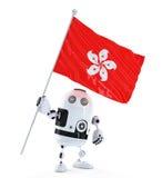 Robot di androide che sta con la bandiera di Hong Kong. Immagini Stock