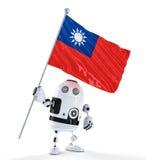 Robot di androide che sta con la bandiera di Taiwan. Isolato sopra bianco Fotografie Stock