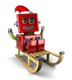 Robot di Santa Claus sulla slitta Fotografia Stock
