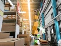 Robot di tecnologia di stoccaggio e di automazione industriale fotografie stock