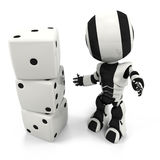 Robot with Dice, Easy as One, Two, Three Royalty Free Stock Image
