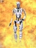 Robot die door vlammen loopt - de begeindiger Royalty-vrije Stock Fotografie