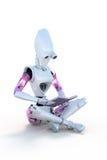 Robot die een boek lezen royalty-vrije illustratie