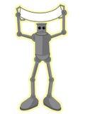 Robot die lege banner houdt Royalty-vrije Stock Fotografie