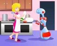 Robot die mamma het plukken platen helpen Royalty-vrije Stock Afbeeldingen