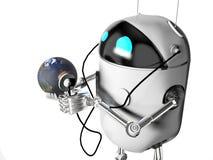 Robot die medik aan de 3d aarde de luisteren, geeft terug royalty-vrije illustratie