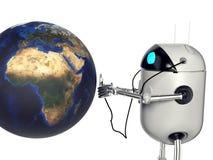 Robot die medik aan de 3d aarde de luisteren, geeft terug royalty-vrije stock fotografie