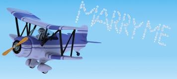 Robot die tweedekkerhemel het schrijven vliegt royalty-vrije illustratie