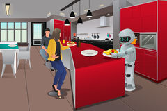 Robot dienend ontbijt Stock Foto