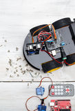 Robot and different necessary parts to build a robot. Vertical P. Hoto stock image