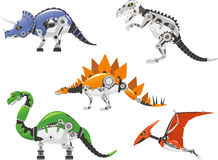 Robot dinosaur set. High detailed Robot dinosaur cartoon collection Stock Image