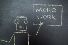 Robot dipinto con un'iscrizione in gesso su una lavagna royalty illustrazione gratis