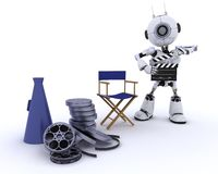 Robot in directors chair with megaphone Stock Photography