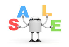 Robot with discounts Stock Images
