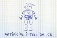Robot divertido con el sombrero de la graduación, intellignce artificial imagenes de archivo