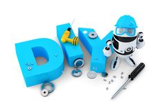 Robot with DIY sign. Technology concept. . Contains clipping path. Stock Photo
