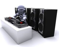 Robot  DJ mixing records on turntables Royalty Free Stock Photo