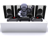 Robot  DJ mixing records on turntables Royalty Free Stock Photography