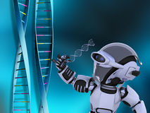 Robot with DNA strands Royalty Free Stock Image