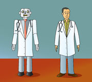 Robot Doctor and Human Doctor. A cartoon robot doctor standing next to a human doctor Stock Photography