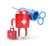 Robot doctor with syringe (retro style) Royalty Free Stock Image