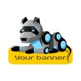 Robot Dog. Lying on an object stock illustration