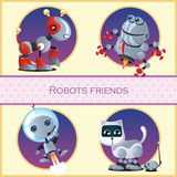 Robot dog, beetle, astronaut and the cat and mouse Stock Photo